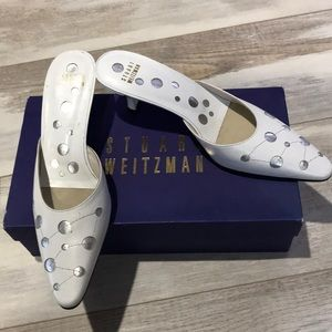 Stuart Weitzman new white mules